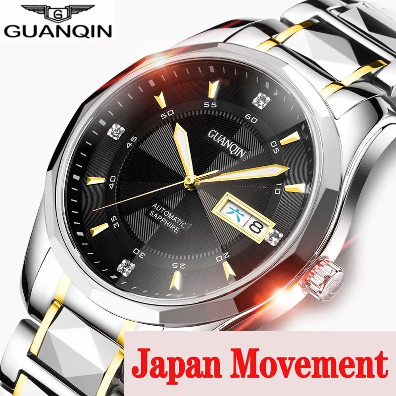 GUANQIN 2019 Japan Mechanical Movement Watch Men Tungsten Steel Men Watch Week Waterproof Automatic Clock Men Relogio Masculino