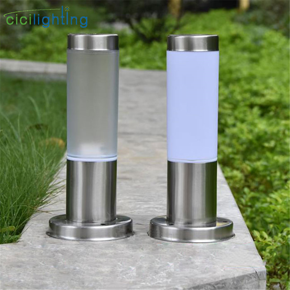 Outdoor White PC Frosted Acrylic Shade Pillar Lamp Landscape Corridor Porch Path Post Light Lamp Pillar Bollard Light For Home