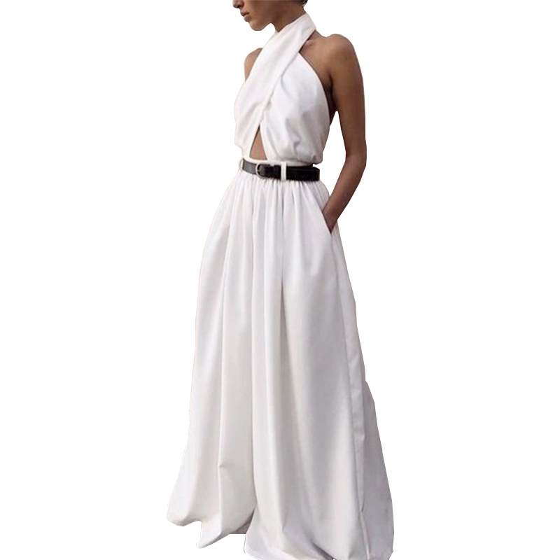 Sexy Sleeveless Long Jumpsuit Women Hanging Neck Halter White Women's Fashion Casual Women's Elegant Loose Jumpsuit(Not Sashes)