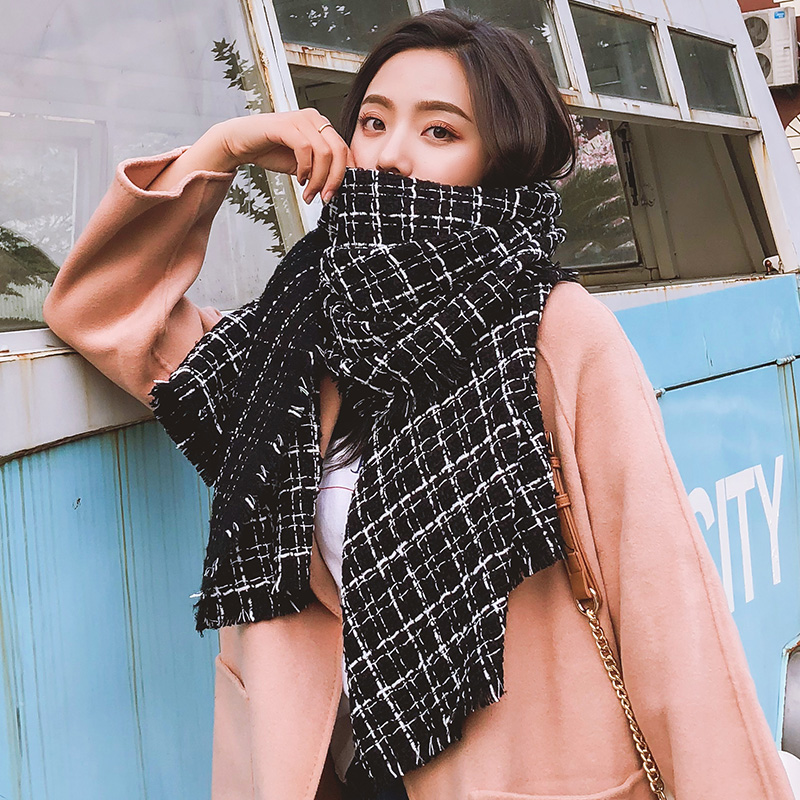 Brand Plaid Scarf Female Autumn And Winter Korean Version Shawl Student Thickening Dual Purpose Versatile Warm Shawl Fringe Bib