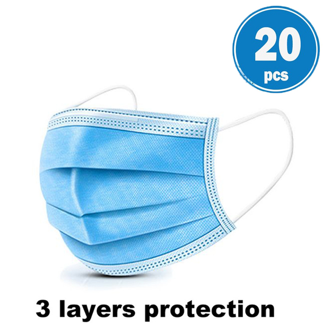 3 Layers Disposable Face Masks Dustproof Protective Cover Bacteria Proof Flu Face Mask Elastic Ear Loop Dust Filter Safe Mask 3