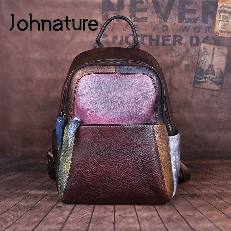 Johnature 2020 New Genuine Leather Vintage Women Backpack Panelled Hand-wiping Random Color Mixing Large Capacity Travel Bags