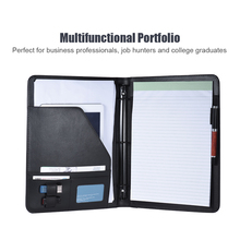Business Portfolio Padfolio Folder Document Case Organizer A4 PU Leather with Business Card U Flash Disk Holder Memo Note Pad