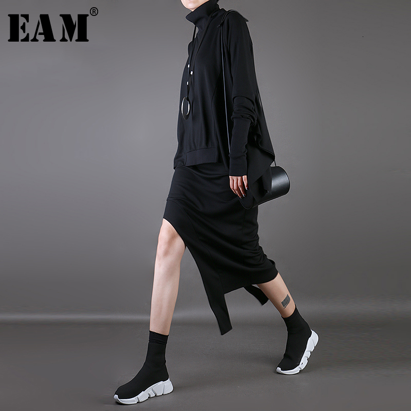 [EAM] High Elastic Waist Black Asymmetrical Split Joint Vent Half-body Skirt Women Fashion Tide New Spring Autumn 2020 1M648
