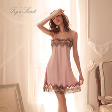 Women sexy night dress with briefs sleepwear camisola mini soft loose comfortable Satin Lace sling multicolor