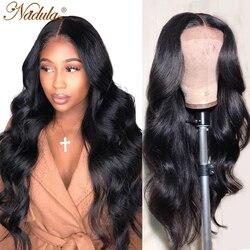 Игрока Nadula Синтетические волосы на кружеве парик 13x413x6 бразильские волнистые волосы парик средней длины коричневого цвета Синтетические во...