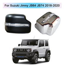 Car Rear View Mirror Cover With LED Turn Lights For Suzuki Jimny JB64 JB74 2018 2020 Replacement Rearview Side Mirror Caps