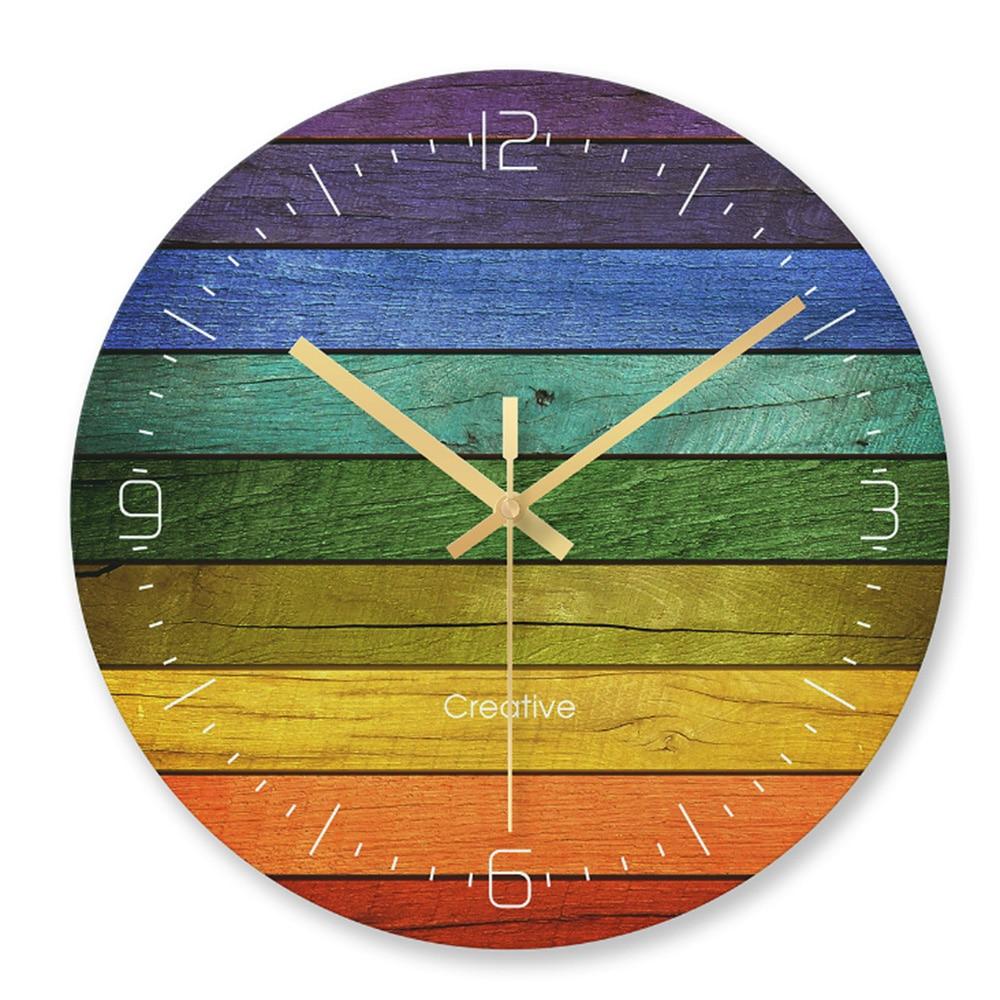 Vintage Glass Wall Clock Kitchen Retro Wood Wall Clock Round Clock 12 Inch Large Wall Clock For Living Room