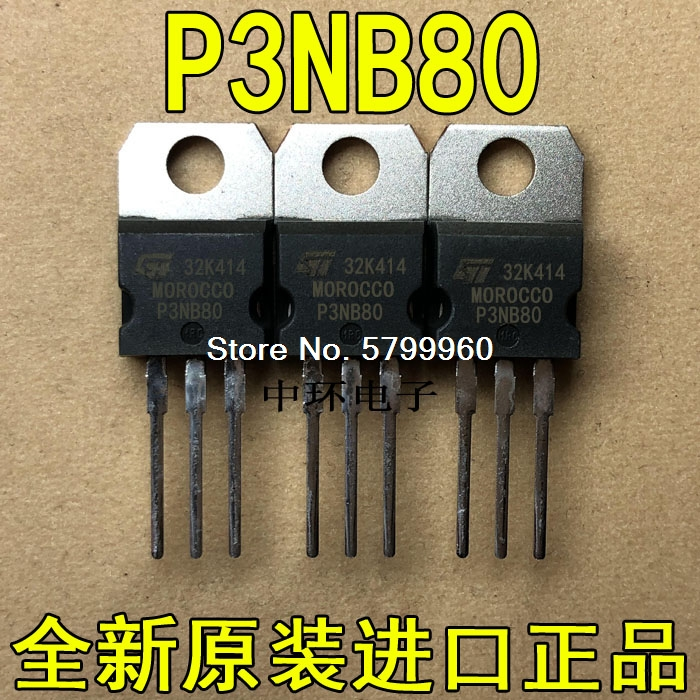 10 шт./лот P3NB80 3N80 2.6A 800V транзистор
