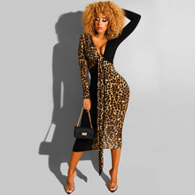 цена на Plus Size V Neck Belt Bandage Dress Women Long Sleeve Leopard Maxi Dress Elegant Party Tunic Vestidos Sexy Patchwork Dresses