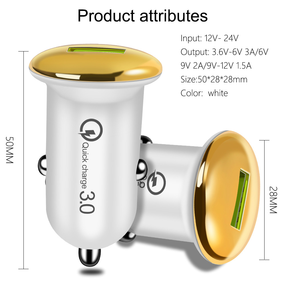 Image 3 - Mini 18W Fast Charger USB Car Charger Adapter Quick Charge 3.0 Car Charger Auto Charging For iPhone 11 Pro XR Mobile Phone Cable-in Car Chargers from Cellphones & Telecommunications
