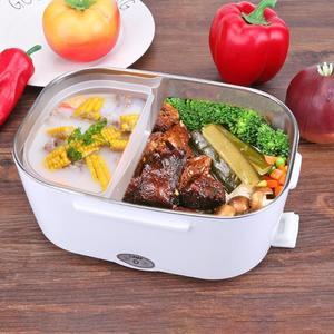 Image 5 - 2 in 1 Tragbare Edelstahl Liner ABS Shell Elektrische Heizung Lunch Box Lebensmittel Heizung Container Küche Geschirr