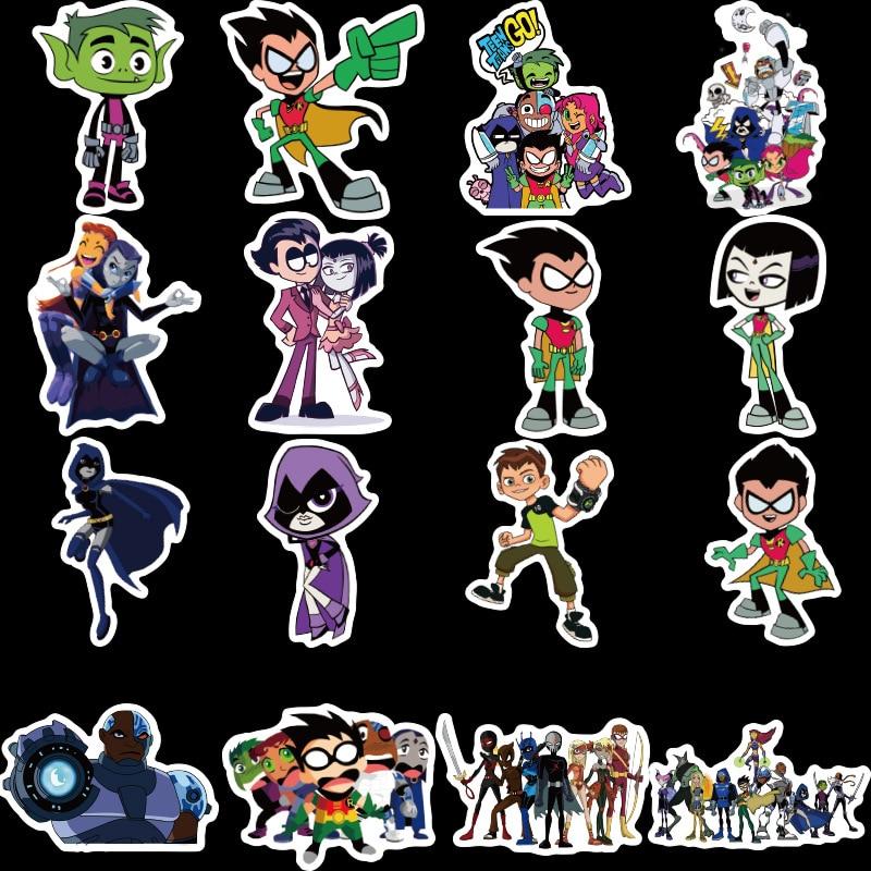 50Pcs Teen Titans Go Stickers  for Snowboard Laptop Luggage Car Fridge Car- Styling Sticker Pegatina