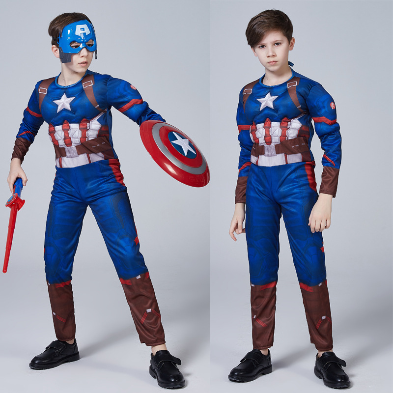 Kids Captain America Costume Avengers Child Cosplay Super Hero Halloween Boys*