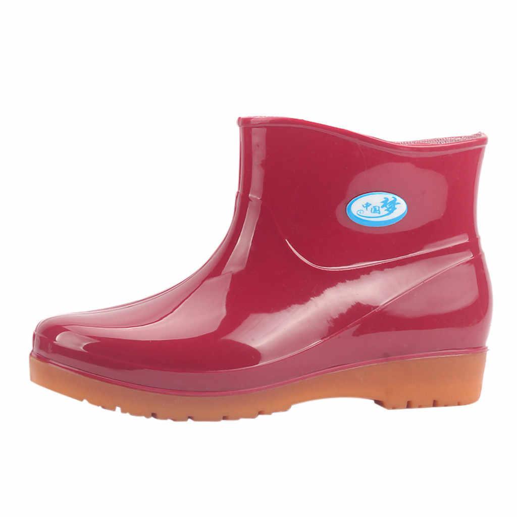 กันน้ำกลางหลอดฝนรองเท้าผู้หญิงแฟชั่นรองเท้าฝนรองเท้าผู้หญิงขนาดใหญ่ข้อเท้ารองเท้าบูทสำหรับสุภาพสตรี Обувь Женская