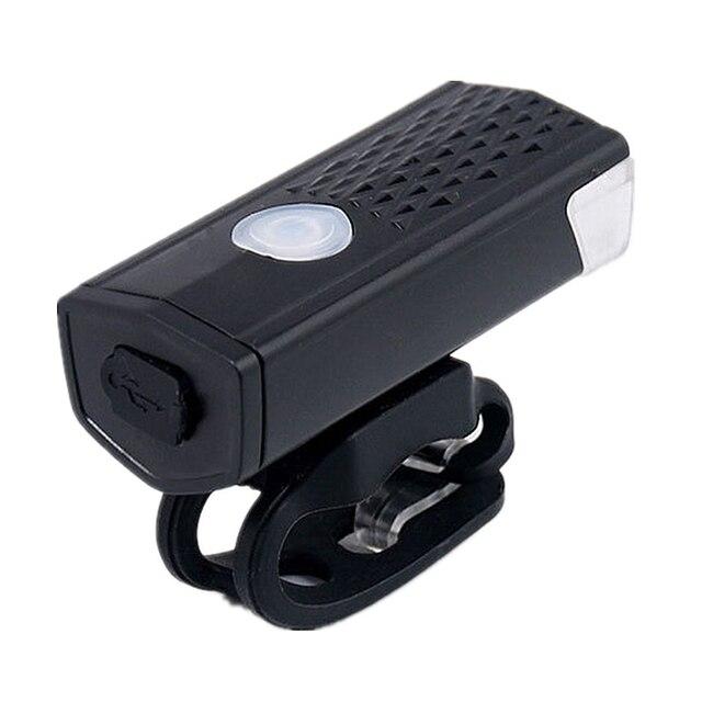 Luz dianteira de bicicleta recarregável por usb, farol de bicicleta com 300 lumens e 3 modos, iluminação de led para ciclismo, lanterna 2