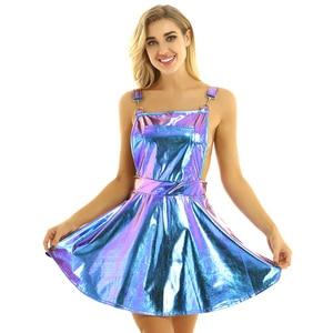 Image 3 - Robe holographique métallique métallique pour femmes, tenue de Festival, tenue brillante, boîte de nuit, danse de chanteur, à bretelles