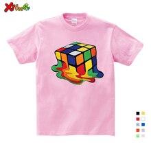 Rubik Cube Printing 3D Girls T-shirt Clothing Boy Cotton Short-sleeved Round Neck Casual Shirt Baby