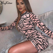 Hugcitar 2019 langarm druck mesh sehen-durch sexy mini kleid herbst winter frauen club party streetwear outfits(China)