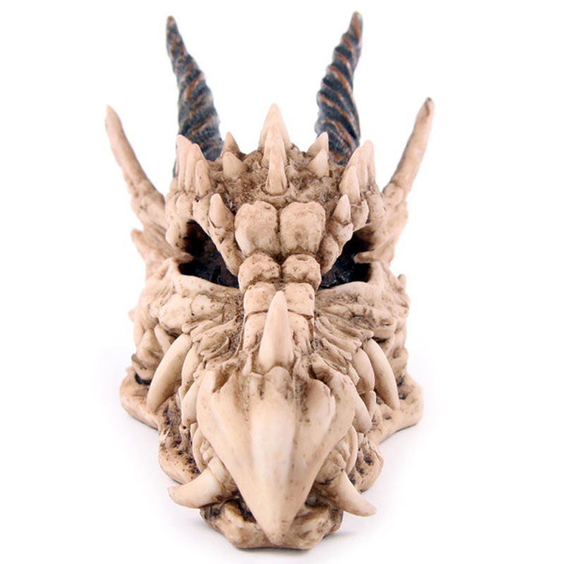 Snarling Magical Dragon Skull Treasure Trinket Box Piggy Bank Medieval Gothic Horned Dragon Skull Sculpture Statue Coin Box