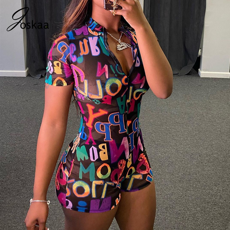 Joskaa Sexy Printed Letter zipper round collar short sleeve fitness waist bodysuit overalls casual sports suit women's playsuit