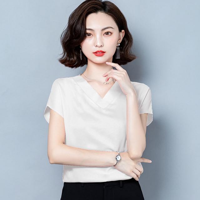 Korean Silk Women Blouses Tops Woman Satin Shirt Top Women Solid V Neck Blouse Lady Top Plus Size 4XL Blusas Femininas Elegante 6