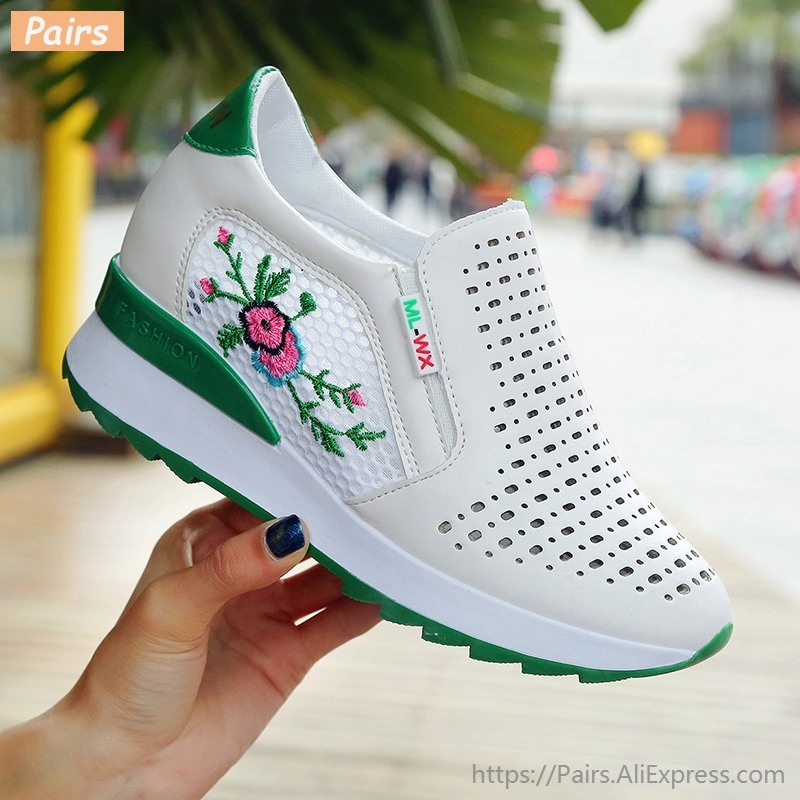 Casual High Heels Loafers Breathable Vulcanize Women Sneakers PU Round Toe Embroider Platform Wedge Tenis Feminino