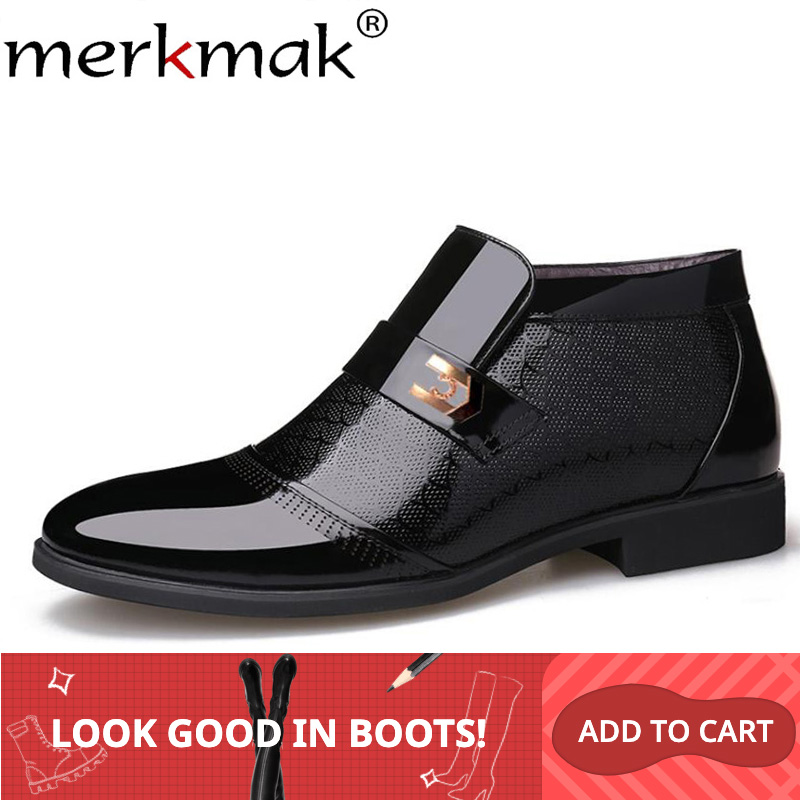 Merkmak Warm Winter Men Boots Classic Genuine Leather Boots Men's Business Formal Dress Shoes Outdoor Men Shoes Zapatos Hombre