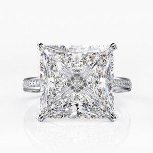 Image 5 - Jewepisode אמיתי כסף 925 תכשיטי 12MM מעבדה Moissanite יהלומי חתונת אירוסין לנשים המפלגה האהבה טבעת מתנות
