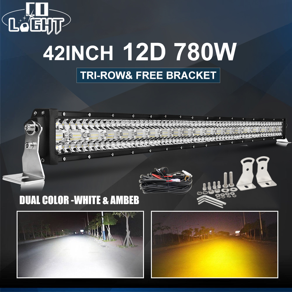 CO LIGHT 12D 780W 42 quot 3 Row Led Light 4x4 Offroad Bar Combo Strobe Led Bar For Off road 4WD Truck ATV 12V 24V Trailer Work Light in Light Bar Work Light from Automobiles amp Motorcycles