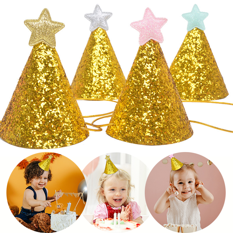 1/3pcs Gold Glitter Birthday Party Hats With Star Cap Baby Shower Newborn 1st Birthday Party Photo Props Kids Party Decoration