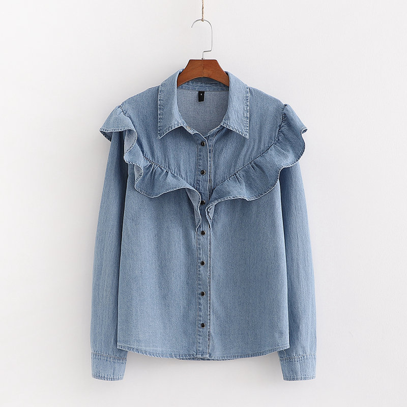 New Women Fashion Cascading Ruffles Denim Shirt Office Ladies Turn Down Collar Long Sleeve Solid Blouses Roupas Chic Tops LS6332