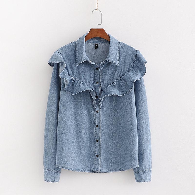 New Women Fashion Cascading Ruffles Denim Shirt Office Ladies Turn Down Collar Long Sleeve Solid Blouses Roupas Chic Tops LS6332