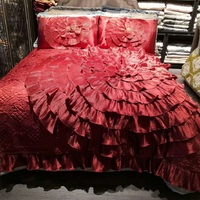 Luxury Red Gold European Wedding Style Silk jacquard Stereoscopic Lace Edge Bedspread Coverlet Bed Cover Set Pillowcases 3PCS