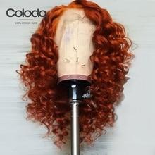 Колодо вьющиеся человеческие волосы парик бразильский Remy парик на кружеве с волосами младенца 13х4 предварительно выщипанные 150% плотность Оранжевый Парики для женщин