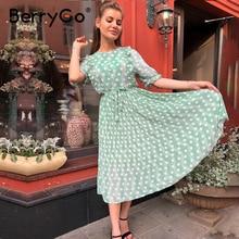 BerryGo imprimé à pois robes dété femmes à manches courtes à volants robe midi femme taille haute ceinture perle boutons dames robe