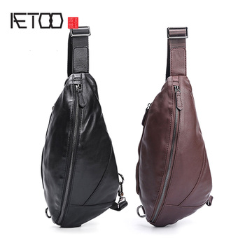 AETOO Chest bag men's leather leisure men's shoulder crossbody bag Korean version of fashion waistband cowhide bag aetoo new leather leather korean version of the wave of shoulder bags simple leisure travel bag backpack