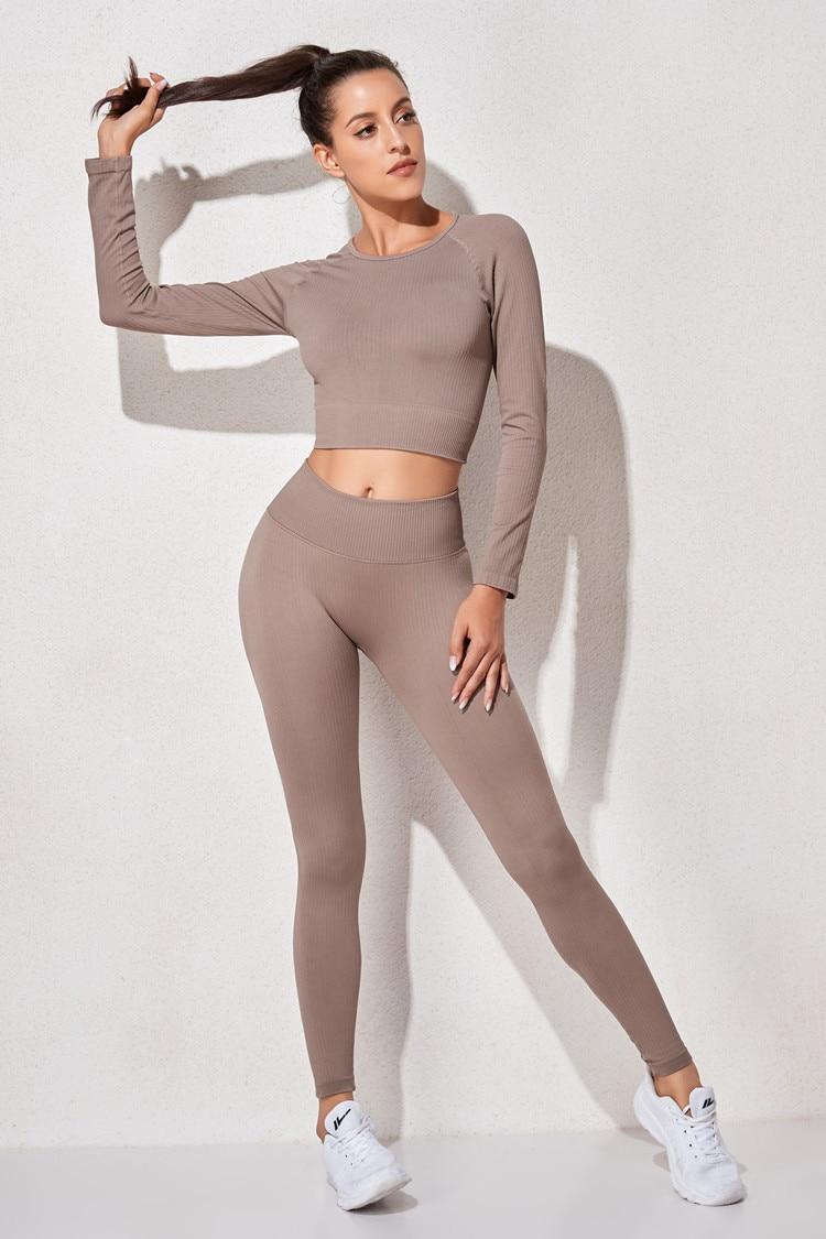 Yoga High Waist Seamless Leggings and Top Set