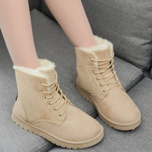 Snow boots 2019 warm fur plush Insole women winter boots square heels flock ankle boots women shoes lace-up winter shoes woman(China)