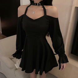 Gothic Ladies Dresses Spring Autumn The New Fashion Hipster Designer Creative High Waist Thin Best Sellers Halter Strapless