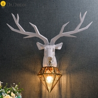 Modern Resin Deer Art Industrial Decor Wall Lamp Gold Glass Lampshade Wall Light Living Room Wall Lights for Home Vanity Light