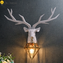 Modern Resin Deer Art Industrial Decor Wall Lamp Gold Glass
