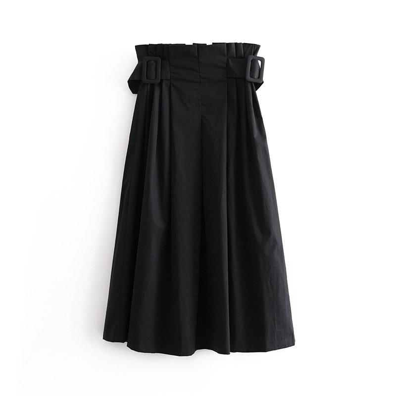 Women Fashion Elastic Waist Side Zipper Pleats Midi Skirt Autumn Female Chic Belt Casual Stylish Skirts Vestidos Mujer QUN488