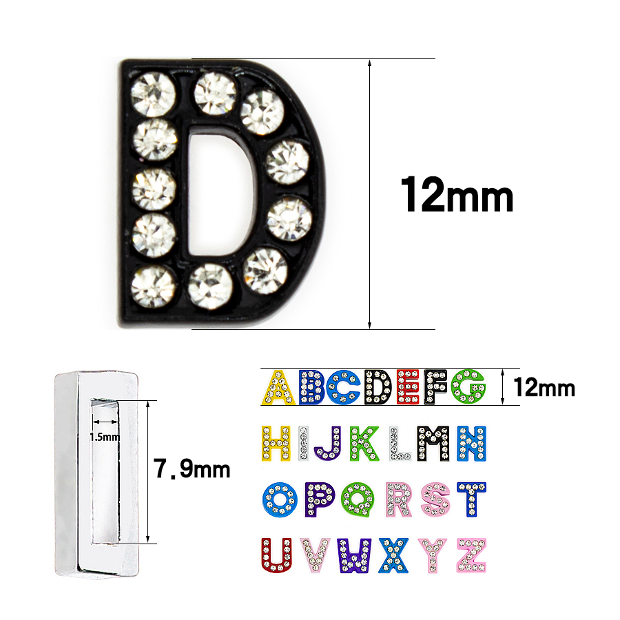8mm-混彩滴油白钻-字母穿戴-尺寸整体图