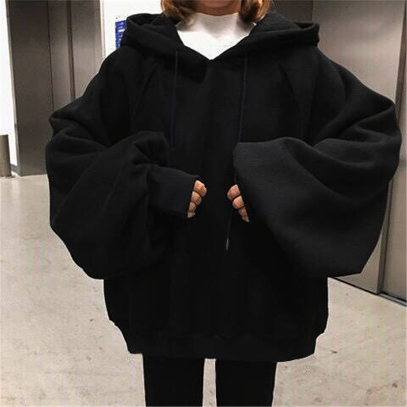 Autumn Winter Loose Solid Color Long-sleeve Pullover Sweatshirts Womens Hoodies Womens Casual Oversized Hoodies Funny Girl