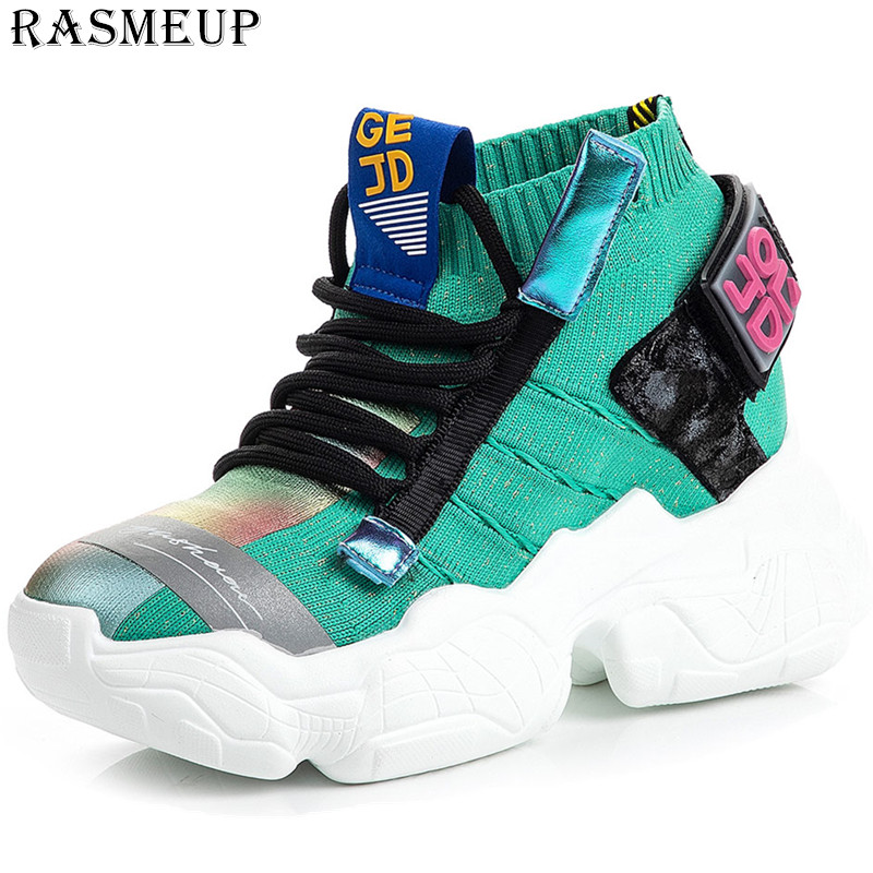 RASMEUP Increased Sneakers New Trend Line Women's Shoes 2019 Fly Woven Casual Old Shoes Breathable Summer Hot Sale Women Shoe