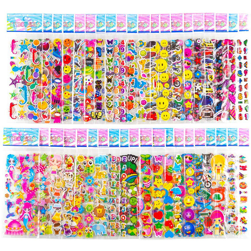 20 Sheets Stickers for Kids Girls Boys Different Bulk Stickers 3D Puffy Assorted Scrapbook Stickers Cartoon Princess DIY Toys