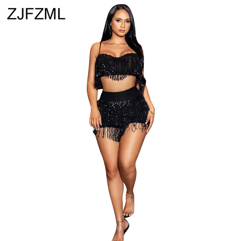 Sequins <font><b>Tassels</b></font> Sexy Two Piece <font><b>Sets</b></font> <font><b>Skirt</b></font> <font><b>Set</b></font> Women Spaghetti Strap Backless Crop <font><b>Top</b></font> + High Waist Mini Wrap <font><b>Skirts</b></font> Club Outfits image