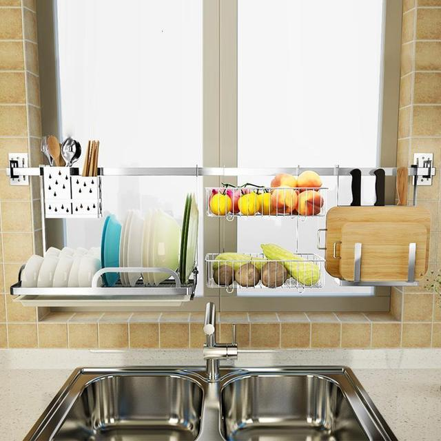 Rangement organisation egouttoir à vaisselle organisador Cocina acier inoxydable Cozinha accessoires de Cuisine Rangement Cuisine support étagères 2