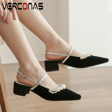 VERCONAS Women Pearl Slippers Brand Design Top Quality High